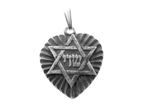 """תליון קמע וינטג' מכסף סטרלינג  925  בעיצוב לב  מגן דוד """"שדי"""" ישראל שנות ה 40 aaronjewelryart.com"""