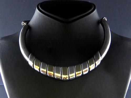 ענק וינטג' לצואר מכסף סטרלינג 925 אלקטרופורמינג הזהבה חלקית חתימת אומן aaronjewelryart.com