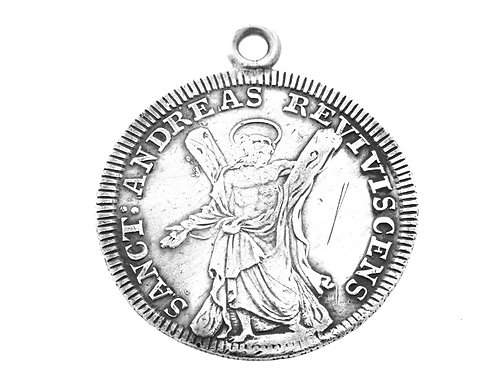 Vintage Coin Pendant Sterling Silver 925 Sanct Andreas 1709 aaronjewelryart.com