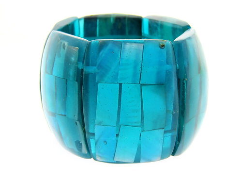 Vintage large Bracelet Shell and plastic vivid blue color hand made 70' aaronjewelryart.com