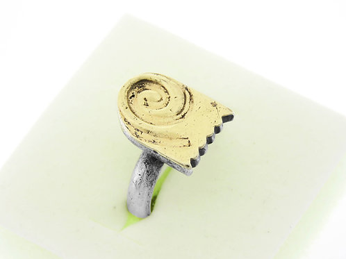טבעת וינטג 'מכסף סטרלינג 925 וזהב בעיצוב מודרני עבודת יד ישראל '70 aaronjewelryart.com