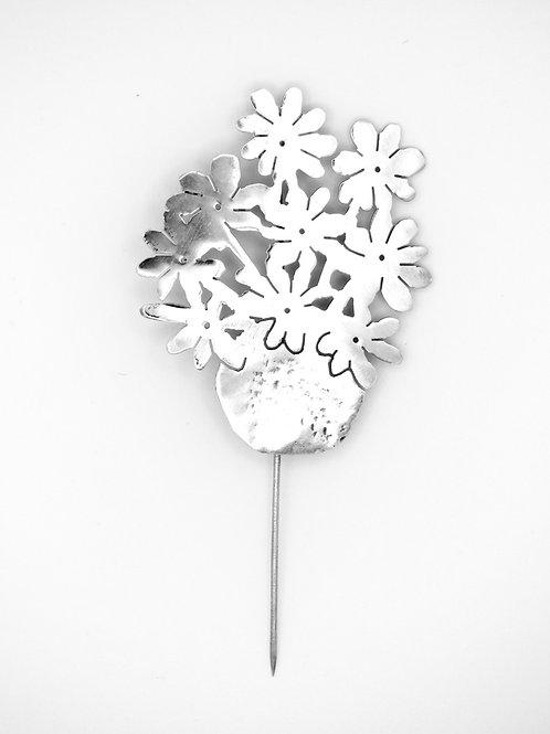 סיכה וינטג מכסף סטרלינג 925 עציץ עם פרחים פורחים עבודת יד ישראל שנות ה-'80