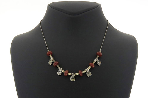 Sterling silver 925 necklace, orange corneal stones links in modernist design aaronjewelryart.com