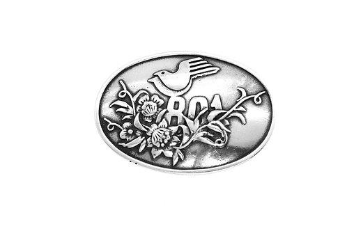 סיכה וינטג' מכסף סטרלינג 925 יונים ציפורים ופרחים שנות ה'40