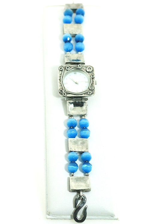 שעון יד וינטג' מכסף סטרלינג 925 וחרוזי אבן כחולים בעיצוב מודרני עבודת יד  ישראל aaronjewelryart.com