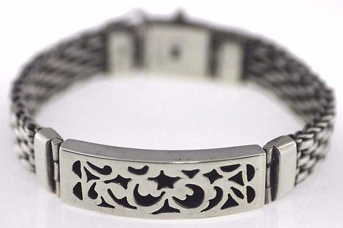 Vintage Sterling silver 925 Bracelet Square links Modernist Artisan Israel 70'