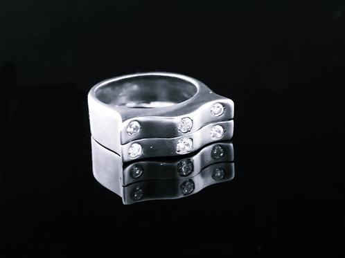 80' טבעת וינטג' מכסף סטרלינג 925 עם זירקונים בעיצוב מודרני ישראל עבודת יד aaronjewelryart.com