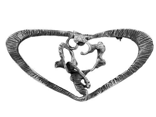 סיכה וינטג' מכסף סטרלינג 925 מעוצב לב מודרני בעבודת יד ישראל 60