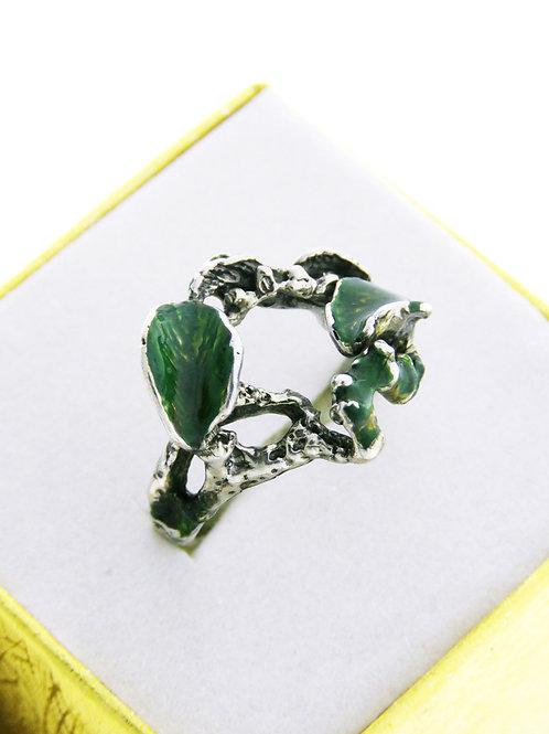טבעת וינטג 'מכסף סטרלינג 925 מעוצבת באמייל צימחי ישראל שנות ה '60 aaronjewelryart.com