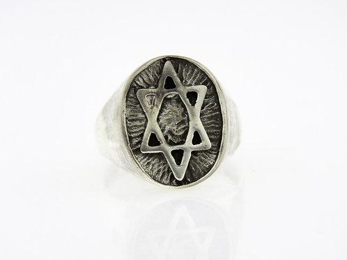 וינטג' טבעת מעוצבת גדולה עם מגן דוד מכסף סטרלינג כסף 925 ישראל 40