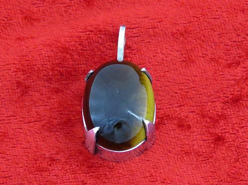 וינטג' מכסף סטרלינג 925 תליון משובץ אבן עין הנמר בעיצוב מודרני ישראל ישראל 40