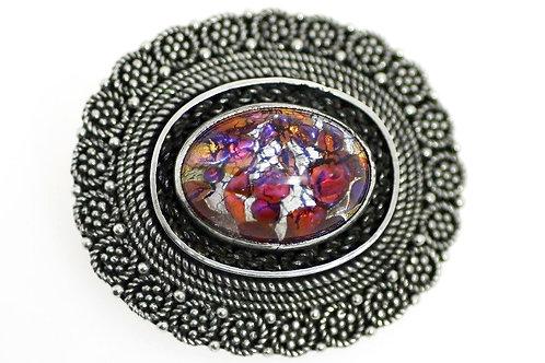 Vintage Judaica Israel Silver 925 Filigree Multi Color Murano glass  Pin, Brooch