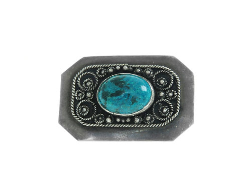 Vintage brooch sterling silver 925 Filigree and blue glass work Israel 50s aaronjewelryart.com