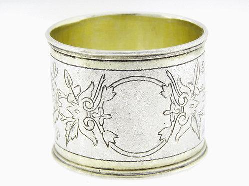 Vintage sterling Silver 925 Napkin ring Art Nouveau hand made Russian 1892  aaronjewelryart.com