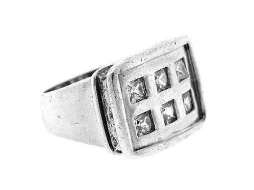 טבעת וינטג 'מכסף סטרלינג 925 בעיצוב מודרני עבודת יד משובץ 6 אבנים ישראל '80 aaronjewelryart.com