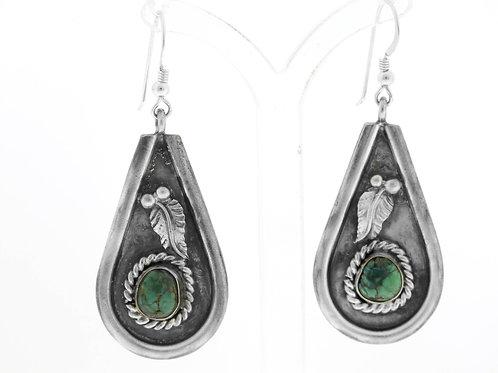Vintage Earrings Sterling Silver 925 herbal Turquoise stone Handmade Israel 60' aaronjewelryart.com