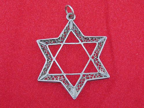וינטג' יודאיקה תליון מגן דוד מפיליגרין מכסף סטרלינג 925 ישראל '50