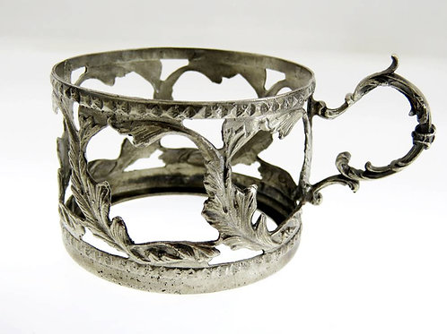 vintage solid silver 800 Cup holder with herbal ornament