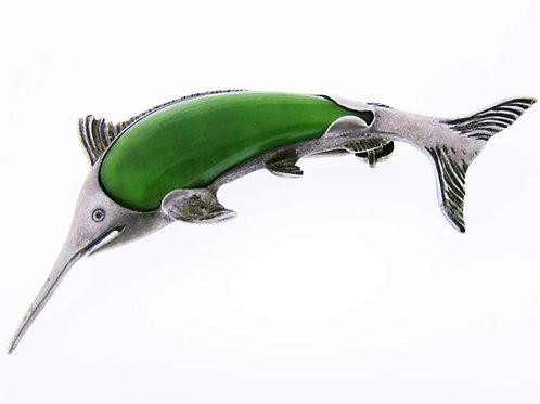 סיכה וינטג' מכסף סטרלינג 925 בעיצוב דג חרב משובץ באבן אוונטורין בעבודת יד '50  aaronjewelryart.com