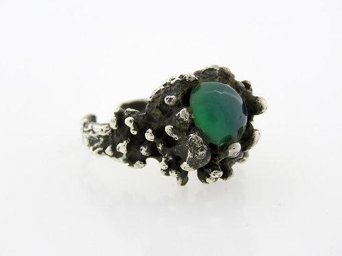 Vintage sterling silver 925 Ring Jade stone Modernist Artisan Israel 50'