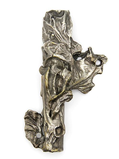 מזוזת וינטג' יודאיקה מפליז מצופה כסף מעוצבת כגזע עץ וענפים ישראל 60 'עבודת יד