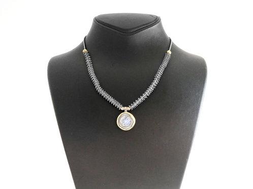 שרשרת ותליון וינטג' מכסף סטרלינג 925 וזהב עיצוב מודרניסטי ישראל שנות ה - '90 aaronjewelryart.com