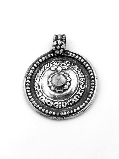 תליון וינטג' מכסף סטרלינג 925 בצורת מגן עיצוב גאומטרי וצמחי ישראל שנות ה - '60
