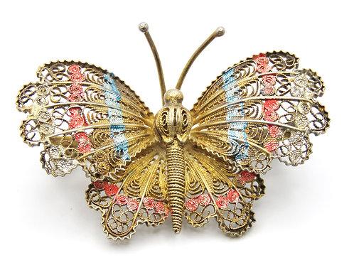 סיכת פרפר וינטג' מכסף 800 מלא ציפוי זהב עבודת פיליגרין אירופאי שנות ה - '30