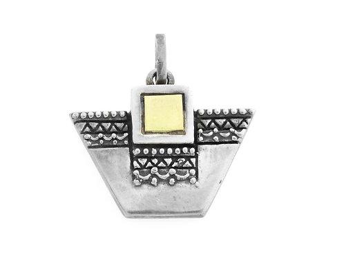 תליון וינטג' מכסף סטרלינג 925 וחתיכת זהב בעיצוב גיאומטרי בעבודת יד ישראל שנות 70 aaronjewelryart.com