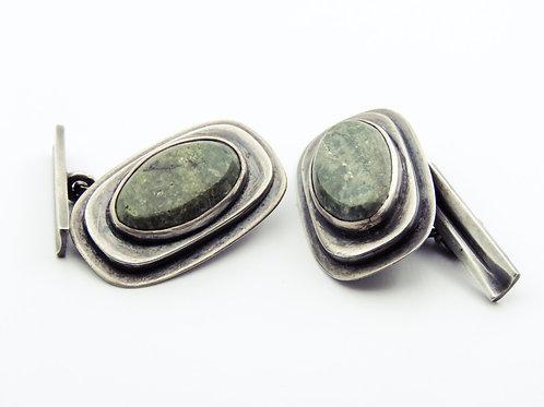 A pair of cufflinks made of 925 sterling silver, handmade stones, Israel, 1950s aaronjewelryart.com