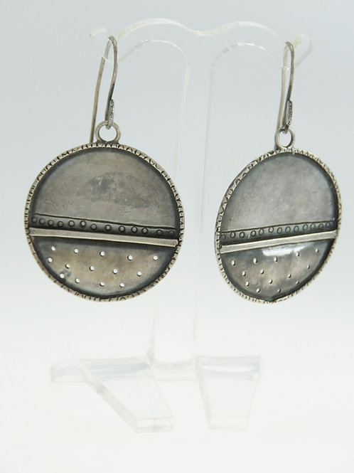 vintage earrings sterling silver 925 hammered handmade modernist design aaronjewelryart.com