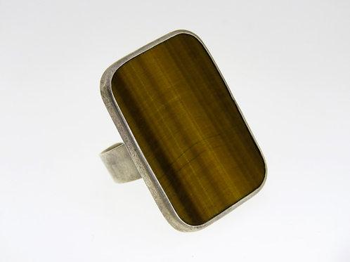 טבעת וינטג' מכסף סטרלינג 925 גדולה וייחודית  משובצת באבן טייגר איי ישראל 50 ' במידה מתכווננת