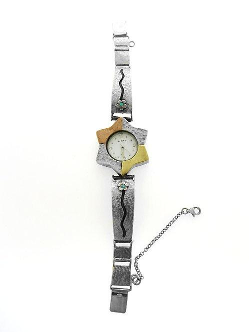 שעון לאישה וינטג' מכסף סטרלינג 925 וזהב מגן דוד בשיבוץ אופל ישראל שנות ה'80 aaronjewelryart.com