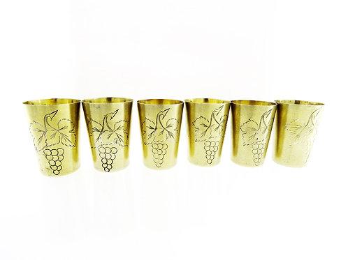 סט 6 כוסות וינטג' מכסף רוסי 875 ארט נובו עם חריטה של אשכולות ענבים רוסיה aaronjewelryart.com