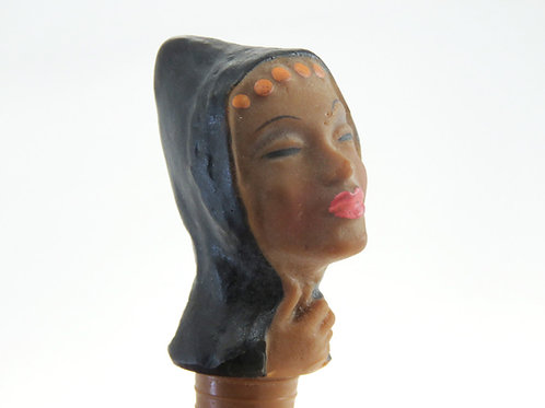 Cork vintage Yemeni woman's head in traditional dress made by mayer Israel '50 aaronjewelryart.com
