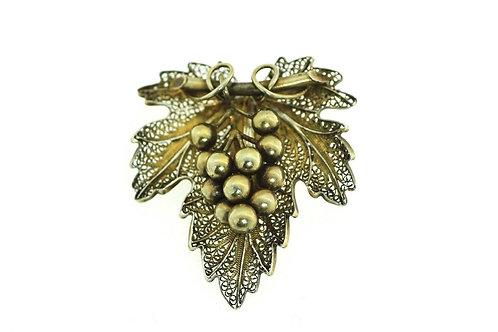 סיכה וינטג' מכסף סטרלינג 925 ציפוי זהב עבודת יד פיליגרין עלה גפן וענבים aaronjewelryart.com