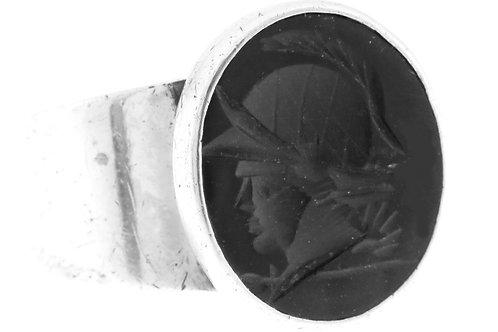 וינטג' טבעת חותם מכסף סטרלינג 925 מגולף באבן אוניקס ראש חייל ישראל '40 aaronjewelryart.com
