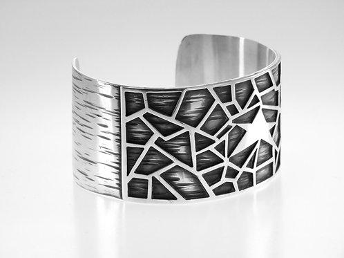 צמיד וינטג' מודרניסטי מכסף סטרלינג 925 בעבודת יד מעוטר בכוכב עיצוב גאומטרי aaronjewelryart.com