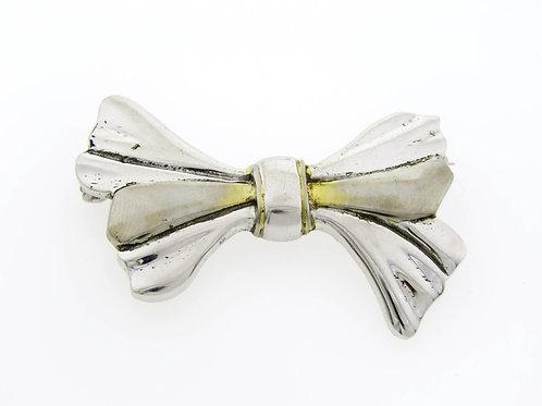 """סיכת וינטג' מכסף סטרלינג 925 בעיצוב פפיון בעבודת יד איטליה 4.6 ס""""מ aaronjewelryart.com"""