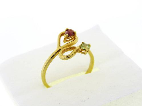 טבעת וינטג' מכסף סטרלינג 925 מצופה בזהב בעבודת יד ישראל 90 '