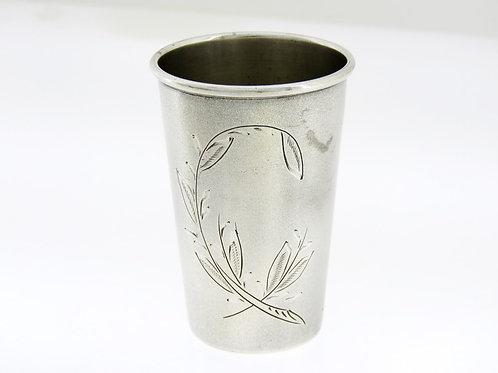 Antique solid silver 800 Shabbat Kiddush Havdala cup harbel Engraved Poland