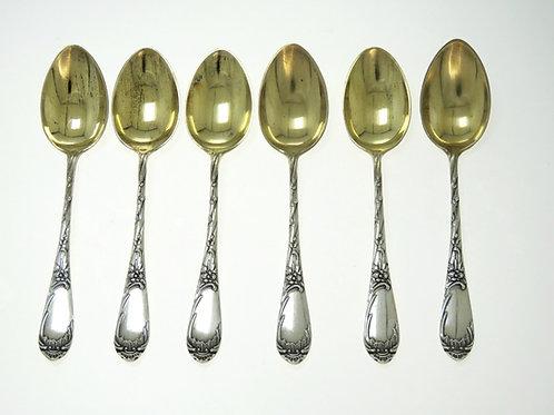Set of 6 teaspoons solid silver 875 Soviet Russia Art Novo Kiev Herbal Decoration 72g aaronjewelryart.com