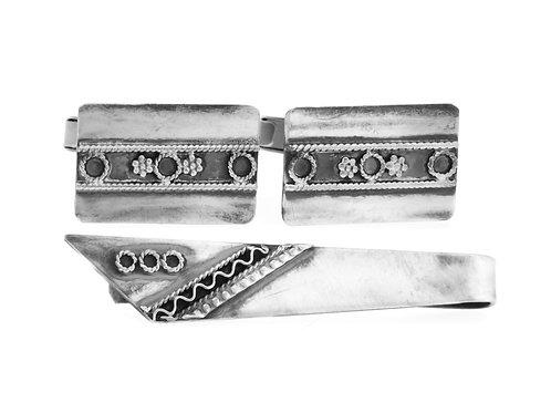 חפתים וסיכת עניבה וינטג' מכסף סטרלינג 925 עיצוב פיליגרין ישראל שנות 50 בעבודת יד  aaronjewelryart.com