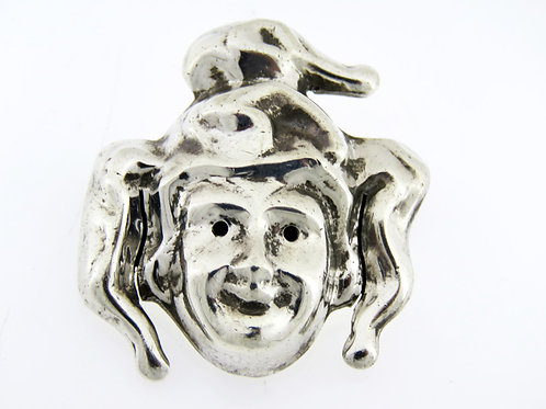 סיכת וינטג' סטרלינג כסף 925 עבודת יד חלולה ליצן מקסיקו 18 g