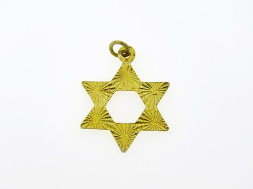 תליון וינטג' מגן דוד קטן מכסף סטרלינג 925 ציפוי זהב עבודת יד ישראל '60   aaronjewelryart.com
