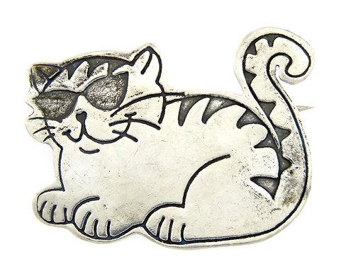 סיכת וינטג' מכסף סטרלינג 925 בעיצוב חתול עם משקפי שמש בעבודת יד