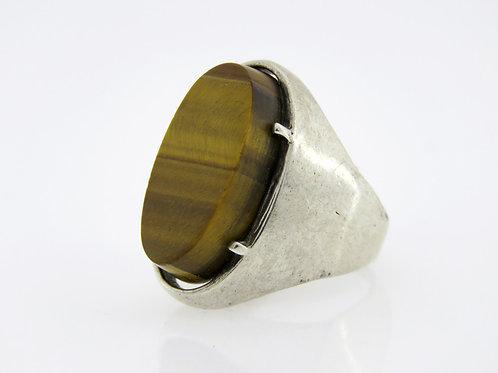 וינטג טבעת מתכווננת מכסף סטרלינג 925 משובצת באבן טייגר איי מודרנית ישראל 50