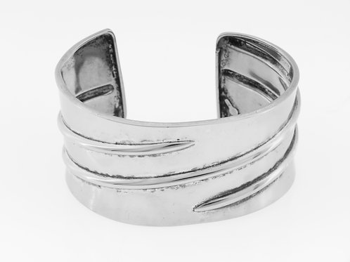 Vintage Sterling  Silver 925 large wide Open Cuff Bracelet Italy hand made