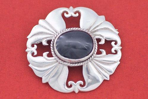 וינטג' סיכה מודרניסטית משובצת אבן עין החתול מכסף סטרלינג 925 ישראל '60