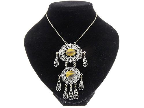 Vintage Sterling Silver 925 Large Necklace filigree Tiger Eye Israel 50